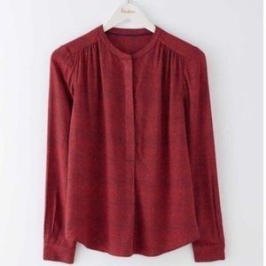 Boden Paula Popover Red Dotted Blouse Women's 16
